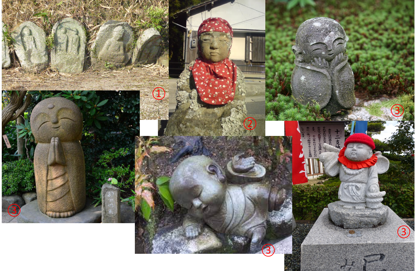Different kinds of o-Jizo-san